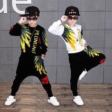 ילדי בגדי סטי לבנים ארוך שרוול ספורט חליפות אביב סתיו ילדים אימוניות בגיל ההתבגרות בני היפ הופ תחפושות 10 12 שנים