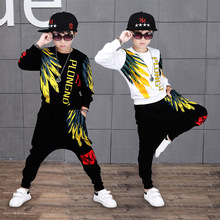 Çocuk giyim setleri Boys uzun kollu spor takımları bahar sonbahar çocuklar eşofman genç erkek Hip Hop kostümleri 10 12 yıl