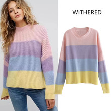 WITHERED 2018 cotton england style flat knitted o-neck full regular  pullovers regular none striped none standard 81e40c3dc372