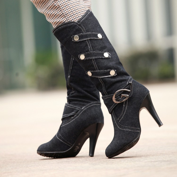 ФОТО 2016 denim high-heeled boots thin heels boots women's shoes spring and autumn high-leg boots plus size boots