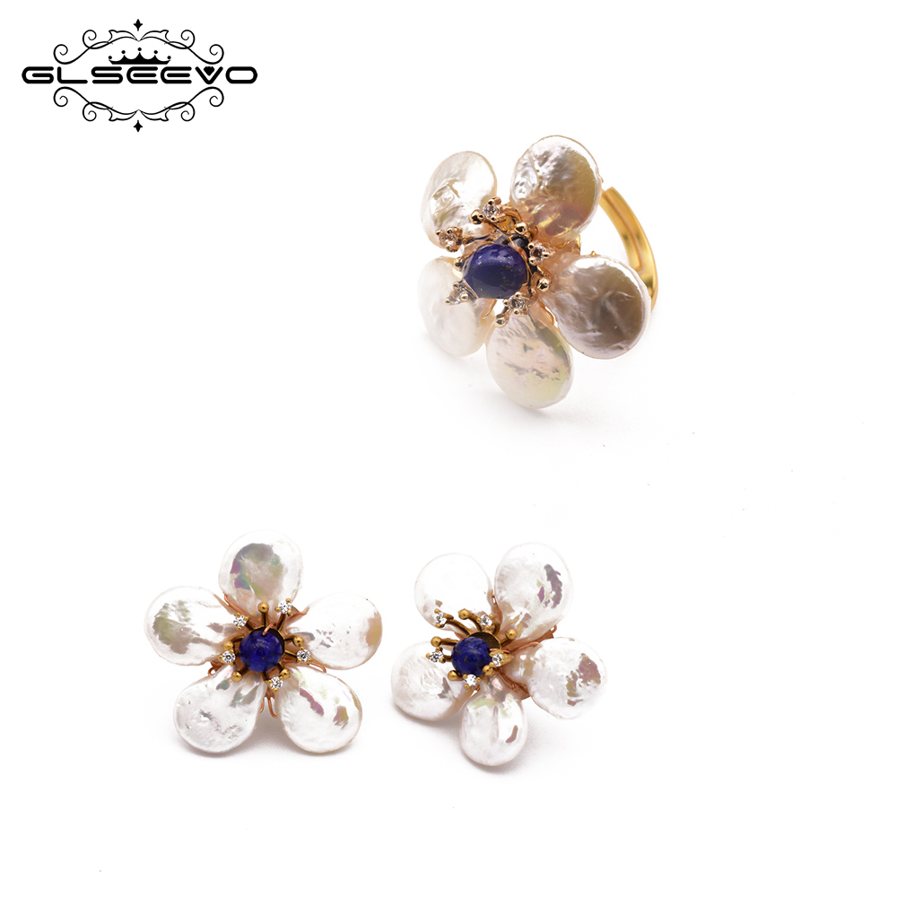GLSEEVO 925 Sterling Silver Natural Fresh Water Baroque Pearl Ring Earrings For Women Wedding Gift Pearl