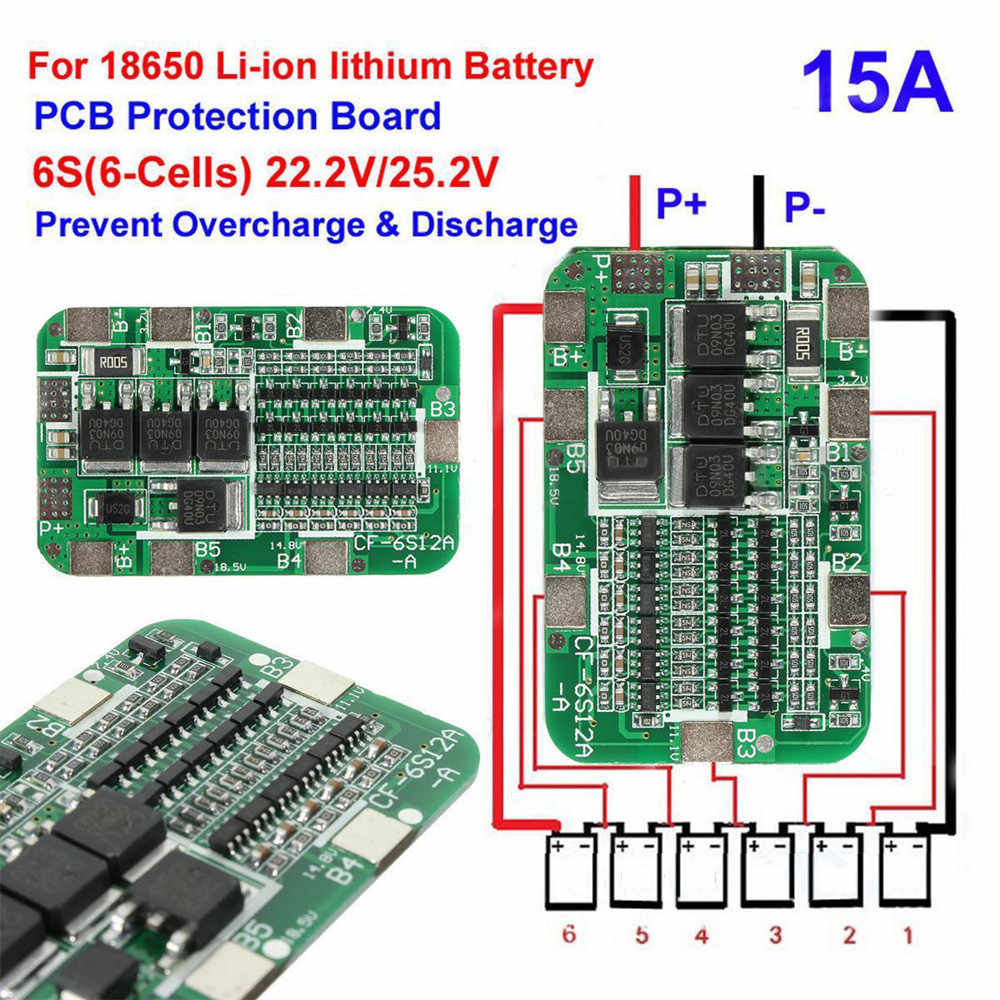 6S 15A 24V litowa płyta ochronna dla 6 paczek 18650 PCB BMS Li-ion akumulator moduł ładowania pokładzie 22.2V 25.2V