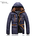 Parkas de luxo Homme gola com capuz corda homem para baixo casacos jaqueta para homens marca de inverno de espessura de lã projeto ocasional Chaqueta E432