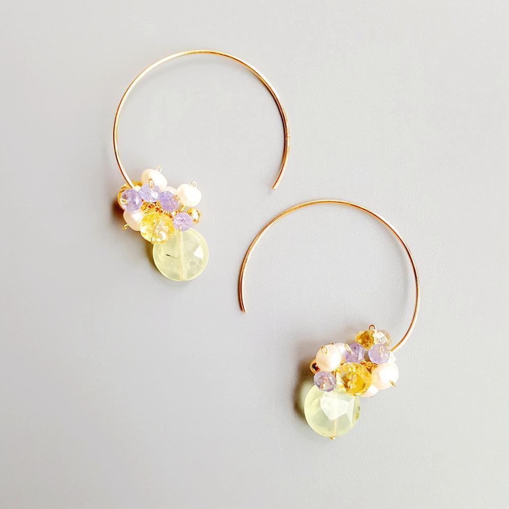 LiiJi Genuine Prehnites Tanzanites Citrines Pearl 925 Sterling Silver Handmade Hook Earrings Delicate Jewelry For Women