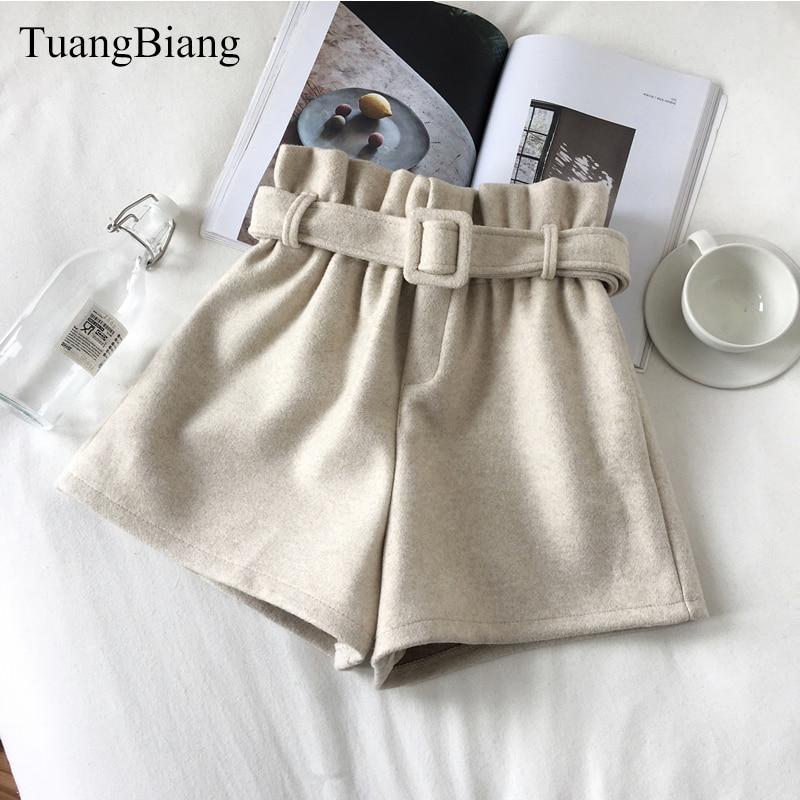 Wool Thick Ladies Loose Sashes Spring Shorts Womens Elastic Waist Wide leg Shorts Autumn Vintage Thicken High waist Shorts 2019