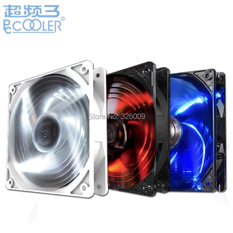 PcCooler Wolf fan 12cm fan Replace CPU cooler cooling for Computer case Blue Red White LED color Free Installation buckle free delivery 9025 9 cm 12 v 0 7 a computer cpu fan da09025t12u chassis big wind pwm four needle