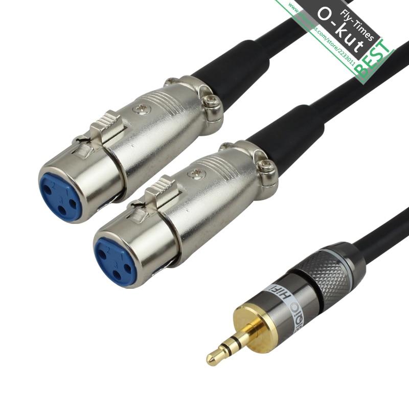 Okut 3 5mm Mini Jack To 2 Xlr 3 Pin Splitter Audio Cable