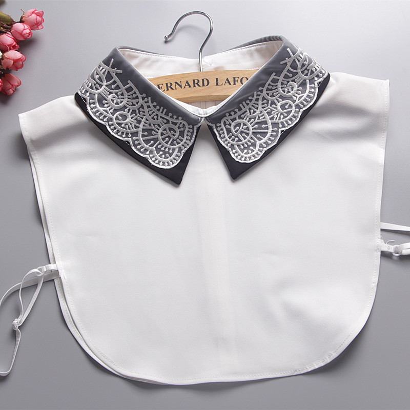 Elegant Lace Embroidery Fake Collar Women Clothes Accessories Zipper Back Col Detachable Womens Collars Patchwork Strikjes Nep