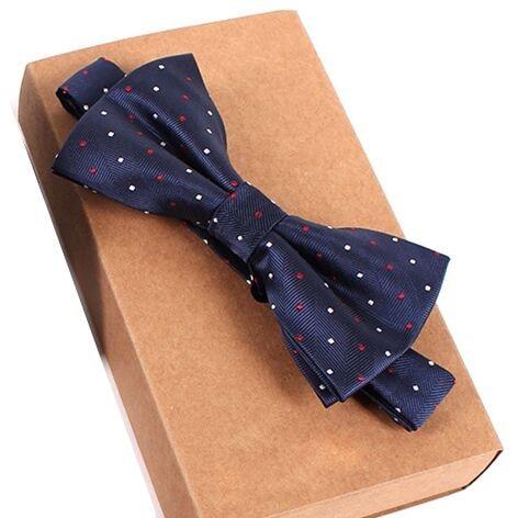 Дизайнерский галстук-бабочка, высокое качество, мода, мужская рубашка, аксессуары, темно-синий, в горошек, галстук-бабочка для свадьбы, для мужчин,, вечерние, деловые, официальные