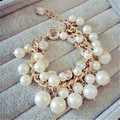 Lemon Value Fashion Charms Luxury Gold Plated Imitation Pearl Crystal Bracelet Women Jewelry Femme Bijoux Pulseras D028