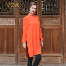 VOA 2017 Summer Brief Solid Casual Heavy Silk T Shirt Long Sleeve High Collar Orange Plus Size Loose Pure Color Women Tops B6395