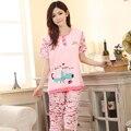 Impressão Bonito Dos Desenhos Animados das mulheres Pijamas de Verão Feminina Sleepwear Roupa Em Casa de Manga Curta Pijama de Algodão