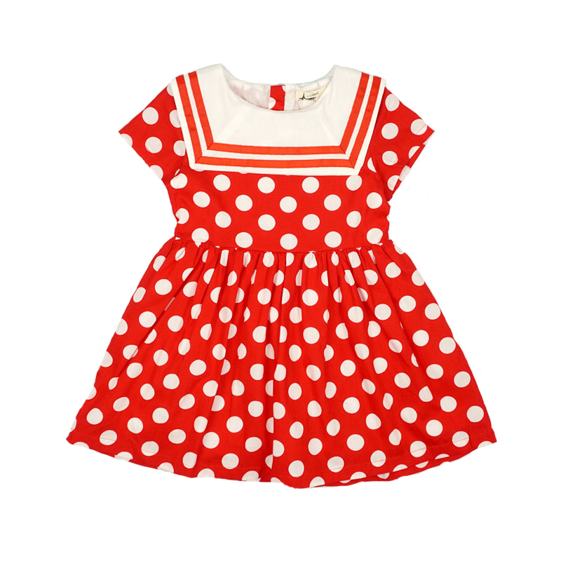 summer children clothes baby girl dress 100% cotton polka dot dresses girls casual sundress fashion princess dress for girl european and american fashion girls cotton dress summer girl party princess dress pleated polka dot kids dresses for girls 5 12y
