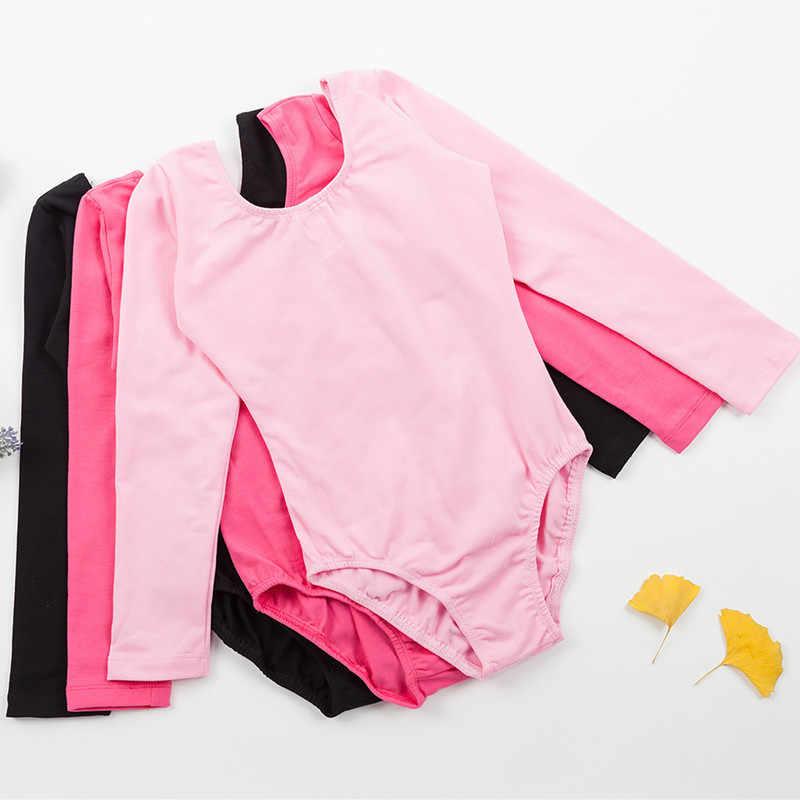 Venta al por mayor nuevo leotardo de Ballet profesional para niñas de manga larga Ropa de baile encantadora de algodón para niños e infantes leotardo de gimnasia con broche