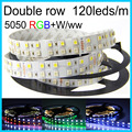 Led Strip Light RGBW Double Row DC12V/24V SMD5050 Flexible Lights RGB+white/warm white no-waterproof 5M 120leds/m