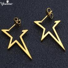 hot deal buy yiustar stainless steel geometric golden star earrrings fashion punk jewelry hollow geometric ear boucle d'oreille pendientes