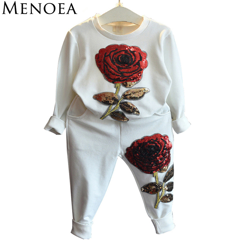 Menoea 2017 Spring Fashion Style Girls Clothing Sets Sports wear Long Sleeve Roses Floral Embroidered Sequin Kids Clothing Sets 2017 new style spring autumn hoodie baby girl clothing set sequin lace long sleeve velour sports jacket long trousers outfits