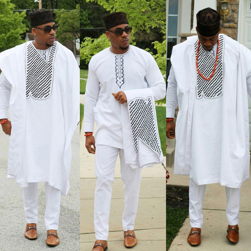 No Cap African Clothes Men Dashiki Father Son Boy Kids Suits Tops Shirt Pant 3 Pieces Set Embroidery White African Mens Clothing