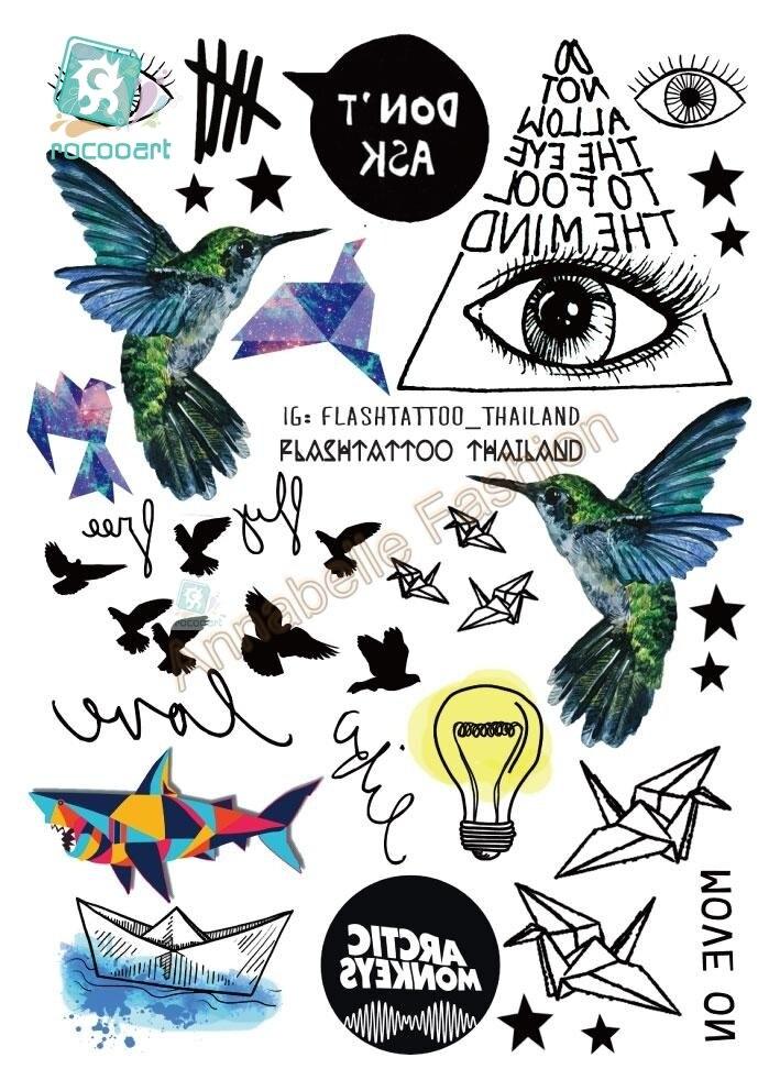 A6080-209 Big Black Body Art Tatuagem Temporária Adesivos tatuagem Taty Gradiente Colorido Dos Pássaros Olho Tubarão Glitter Tatoo Adesivo