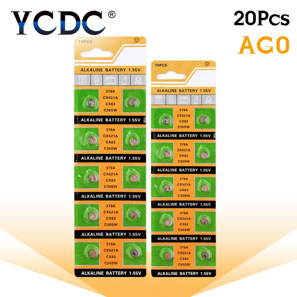 YCDC High Power Selling 20pcs 1 55V AG0 LR521 SR521SW 379 Button Cell Coin Alkaline Battery