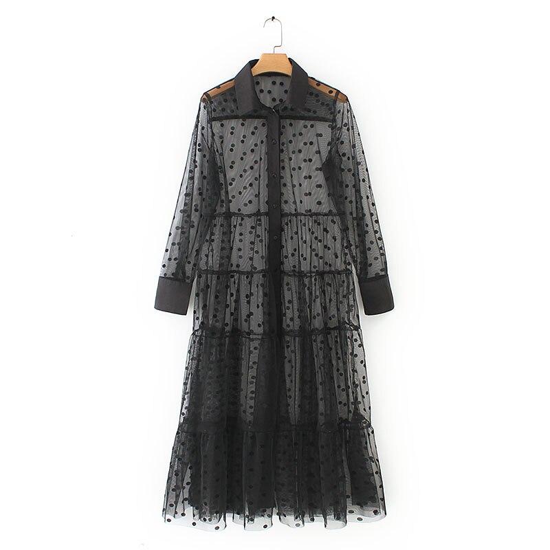 Été femmes Dot robe élégante mi-mollet robe décontracté Turn-down Net robe Vintage Transparent a-ligne plage robe d'été