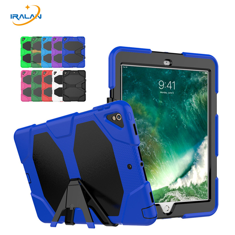 New arrivalShockproof Rugged PC+Silicone Case For New iPad Pro 10.5 2017 A1701 A1709 Heavy Duty Armor Hard Cover+film+stylus for apple ipad 9 7 2017 case with stand shockproof silicone hard pc heavy duty rugged armor defender cover for new ipad 9 7 2017