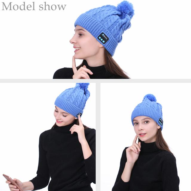 Ubit WM5 Wireless Bluetooth Headphones Warm Knitting Music Smart Hat Headset Earphone With Mic Speaker Outdoor Sport Winter Hat