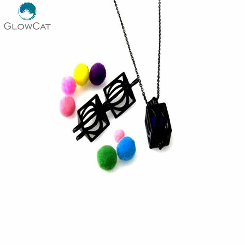 "H294 Black Plated Alloy 23mm Square Moon Style Cage Necklace 18"" Steel chain Aroma Essential Oil Diffuser Locket"