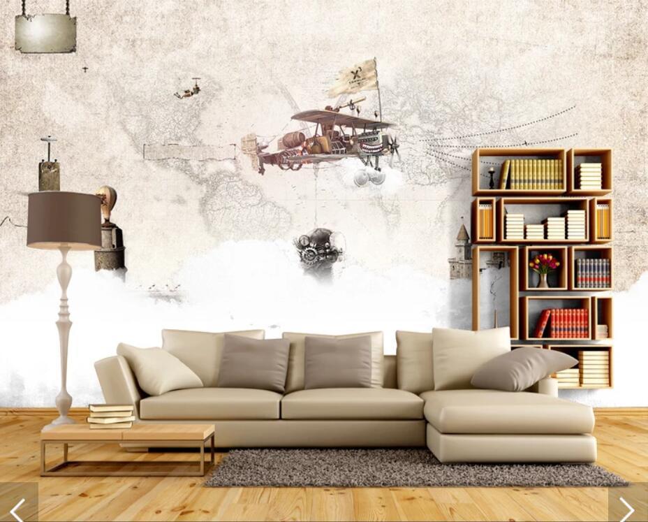 3D Retro World Map Wallpaper Mural Wall Murals Wall Decals
