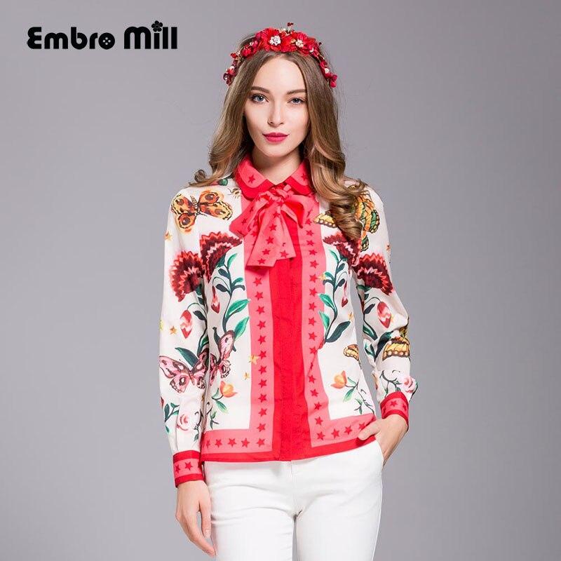 De gama alta señora de la impresión floral camisa de la blusa 2017 primavera fas