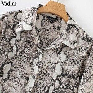 Image 5 - Vadim women snake print ankle length dress pockets long sleeve split pleated female casual chic dresses vestidos QA502