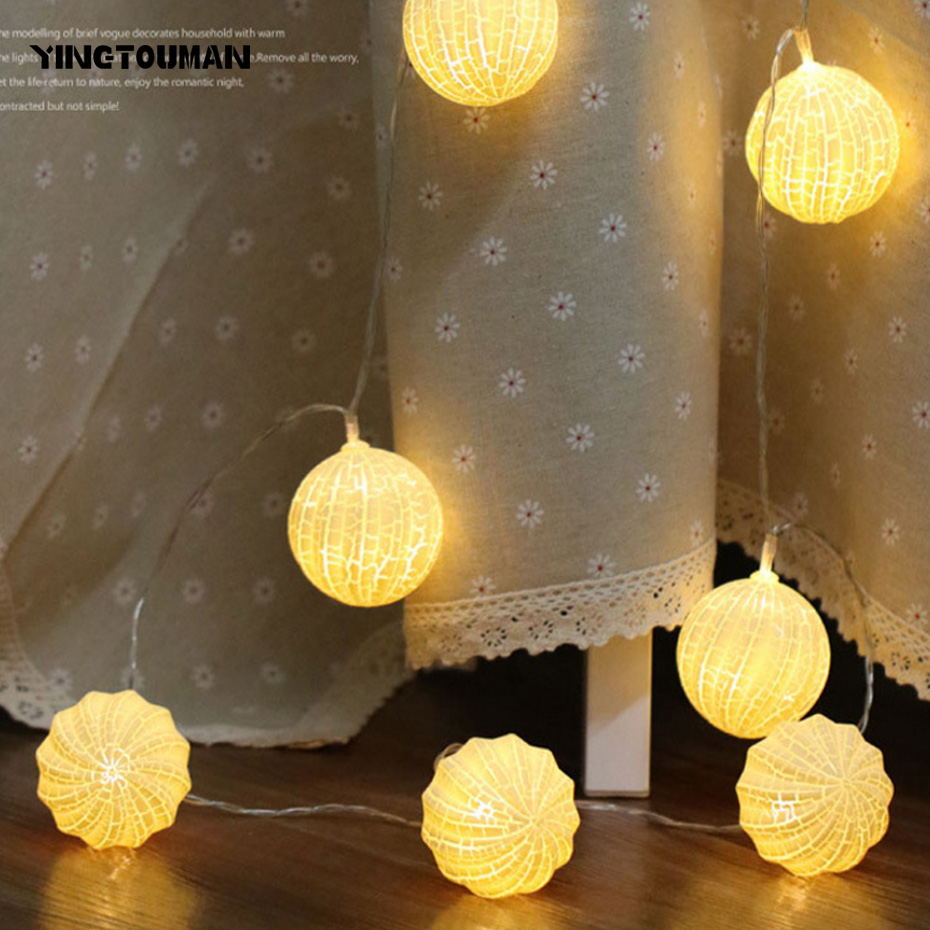 YINGTOUMAN 2018 Battery Powered Yellow Crack Ball Fairy String Lamp Outdoor Christmas Day Garden Party Decoration Light 5m 30led