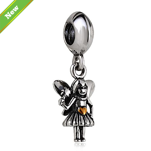 Gold heart Angel pendant sterling silver 925 jewelry beads fit for pandora charm bracelet wholesale