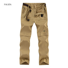 FALIZA Removable Men's Summer Quick Dry Cargo Pants Men Breathable Trousers Male Khaki Casual Sweatpants Plus Size 6XL CK108