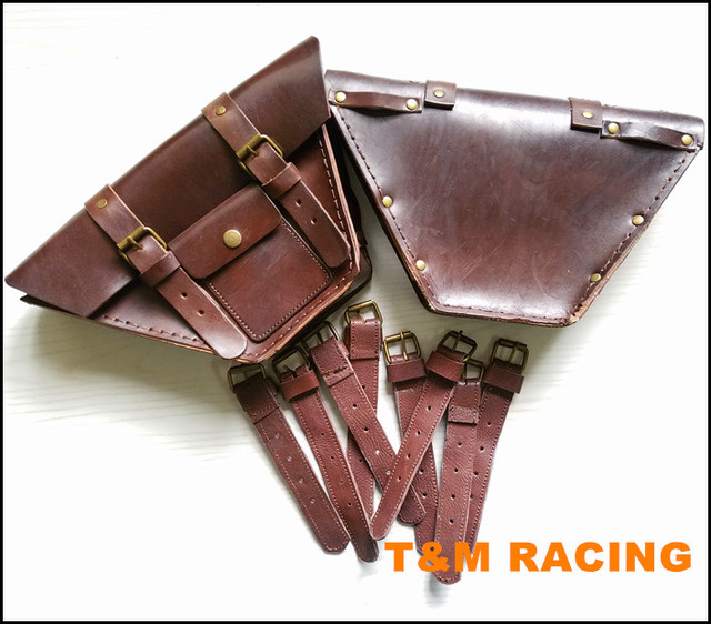 CAFE RACER Motorcycle Saddle Side Bags Genuine Leather Motor Luggage Bag Chopper Bike Tool Old