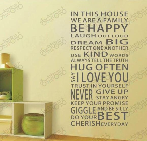 i love you Be Happy Removable Vinyl PVC Wall Art Words Stickers DIY ...