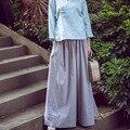 2017 de primavera y verano vendimia de las mujeres de fluidos sueltos pantalones de pierna ancha ocasional clásico del todo-fósforo culottes pantalones pantalones de lino