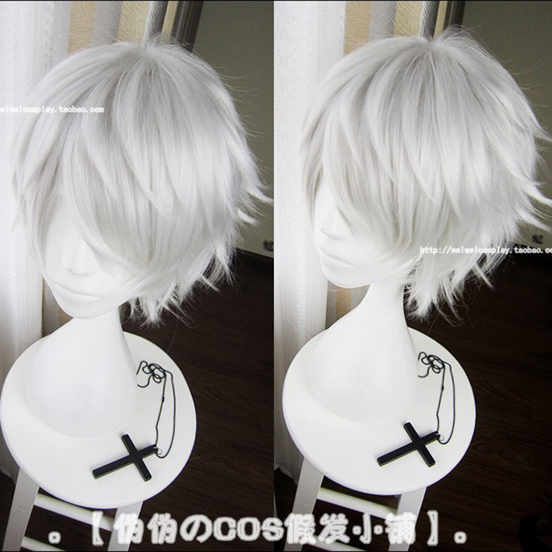 Anime Tokyo Ghoul Kaneki Ken Short Silver White Heat Resistant Hair Cosplay Costume Wig + Free Wig Cap 1