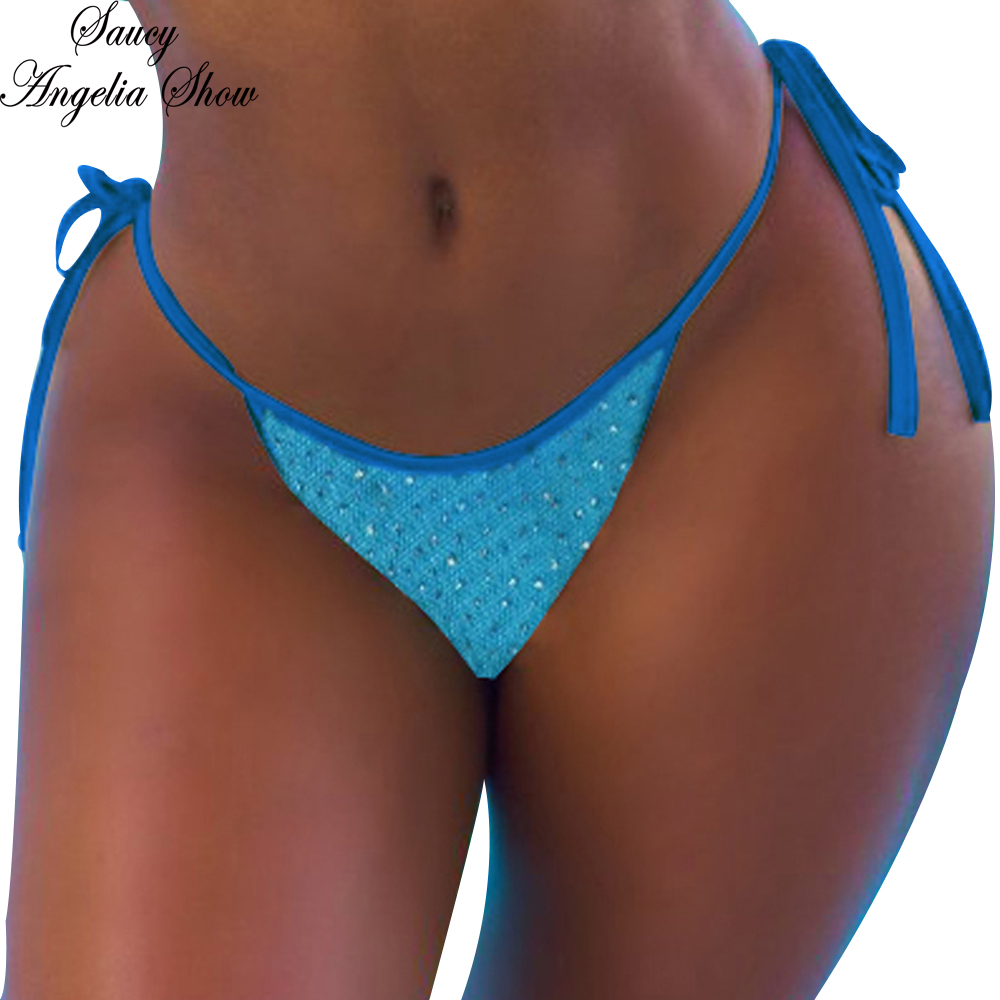 50b6c5d9cce Bandage Bathing Suit Swimsuit Sexy Lace Up Sequin Thong S-XL Brazilian  Tanga Bikini