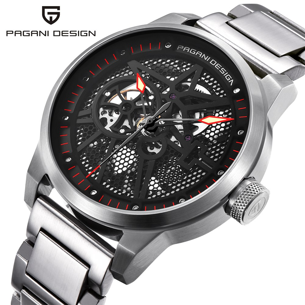 PAGANI DESIGN Steel Mechanical Watch Men Skeleton Automatic Hollow Luxury Brand Business Watch Male Clock Relogio Masculino pagani design mechanical watch men automatic business silicone rubber strap wist watch male clock relogio masculino