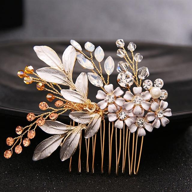 Роскошный Queen золотые волосы расчешите волосы Щупы для мангала Хрустальный цветок Украшения для волос фестиваль подарки невесты Шпильки Свадебные аксессуары SL
