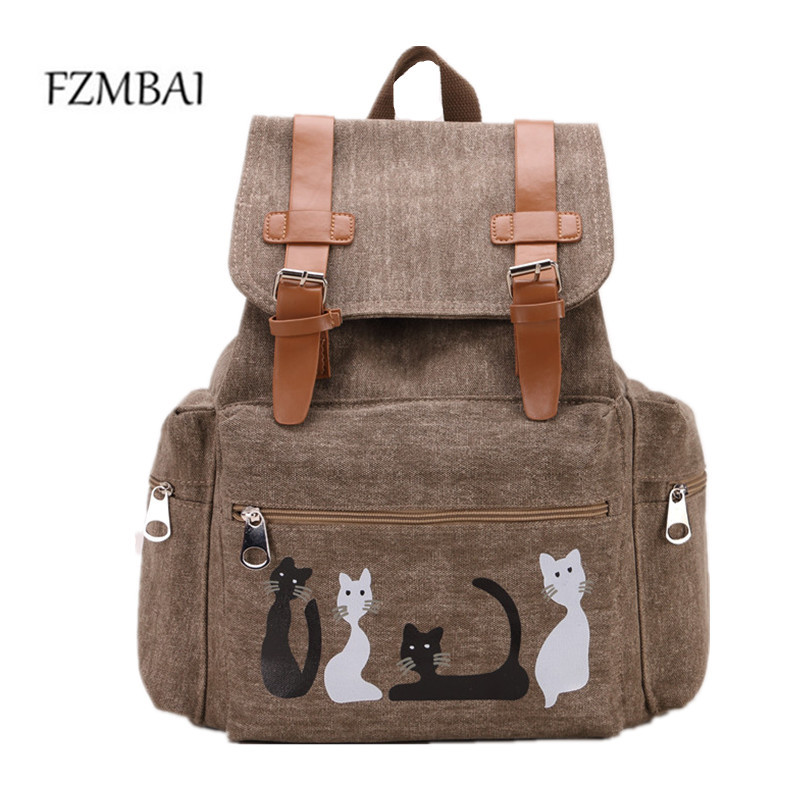 Designer Canvas Backpacks Cat Animal Printing School Teenagers Girl Rucksack Laptop Bagpack Mochilas
