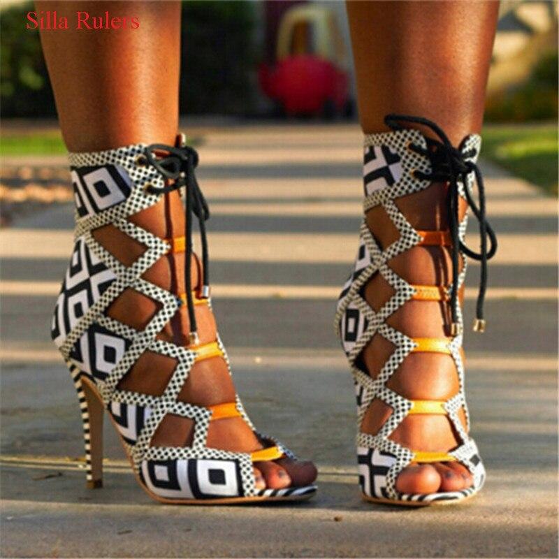 Горячая бренд сетки с открытым носком Дамские греческие сандалии на высоком каблуке Сапоги и ботинки для девочек Кружево Up Cut Out Летние боти... ...