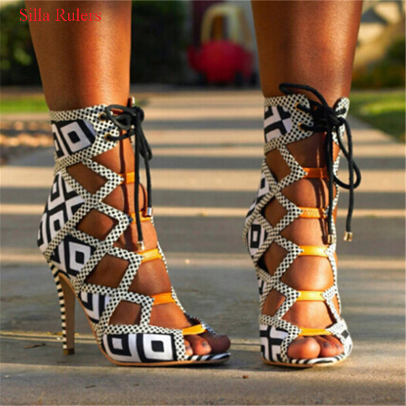 Hot Brand Grid Open Toe High Heels Gladiator Sandals Women Boots Lace Up Cut Out Summer Ankle Boots Shoes Woman Sandalias Mujer roho ethnic suede fringe gladiator sandals women ankle boots lace up high heels shoes woman cut out summer boots botas mujer