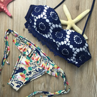 2016 Summer Style Floral Print Women Lace Bikini Set Crochet Flower Swimsuit Strapless Push Up Padded