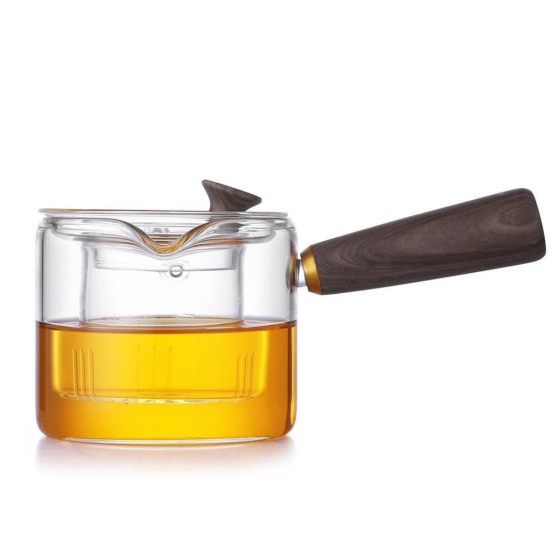 Théière en verre Borosilicate ONEISALL avec filtre à doublure, vaisselle de bureau, cafetière Durable, théière en verre avec manche en bois