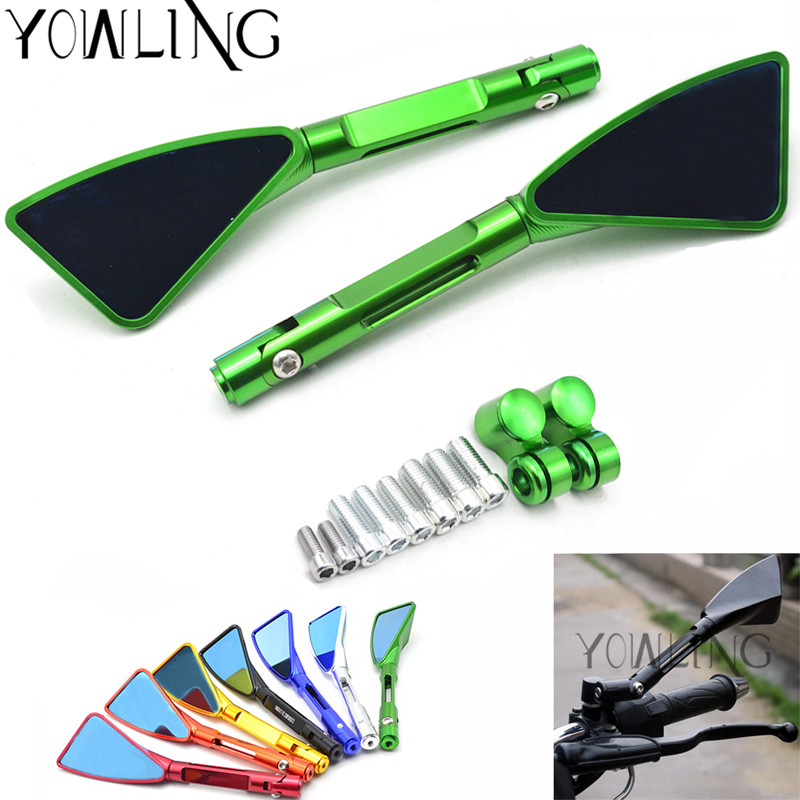 HOT rearview Side mirror motorcycle rear view mirror motorcycle rearview mirror FOR KAWASAKI Z250 Z750 Z800 Z1000 ZR800 ZRX1200 for kawasaki z900 z900rs z800 z1000 motorcycle cnc aluminum rear view mirrors blue glass side convex mirror green black gold red