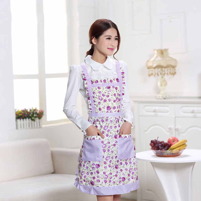 Avental feminino com bolsos à prova dwaterproof água xadrez impressão cozinha dupla camada de pano grosso casa suprimentos lad-venda