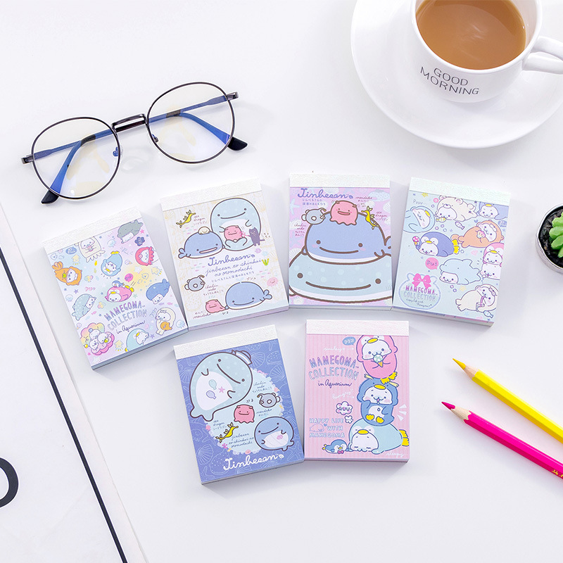 Cute Cartoon Ocean Whale Memo Pad Kawaii N Times Sticky Notes mini Memo Notepad Bookmark Gift Stationery 2pcs creative students stationery post it note with writing pad clip cartoon cute n times posted message notes