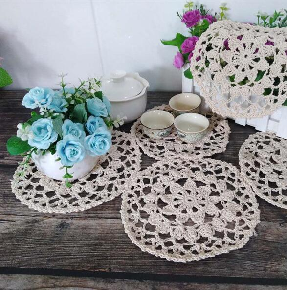 Modern Christmas Placemats Cup Mat Pad Coasters Table Mats Cotton Crochet Place Mats Doily Table 17cm Round Placemat Home Decor in Mats Pads from Home Garden